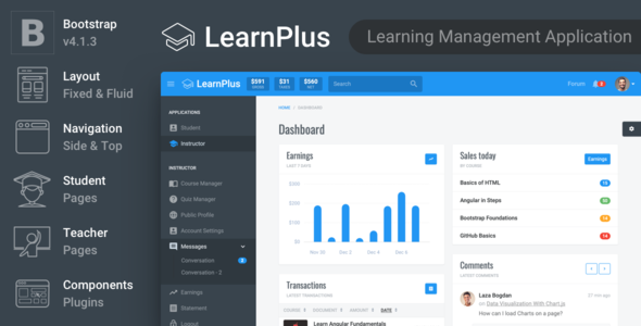 LearnPlus- Learning Management Application - Admin Templates Site Templates