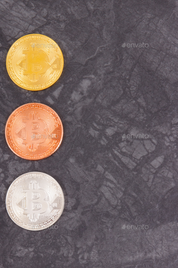 Bitcoins as virtual money, cryptocurrency and international network payment concept, place for text - Stock Photo - Images