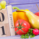 Date 1 January on calendar and fresh fruits with vegetables - PhotoDune Item for Sale