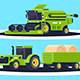 Flat Agricultural Machinery with Stack of Hay - GraphicRiver Item for Sale