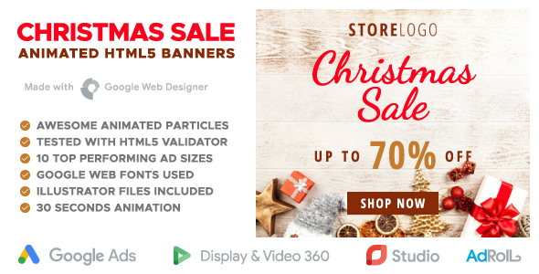 christmas sale online store animated html5 banner templates gwd