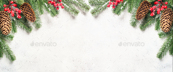 Christmas flatlay background with fir tree brunch and red decora - Stock Photo - Images