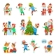 Christmas Holiday People Activities Set Vector - GraphicRiver Item for Sale