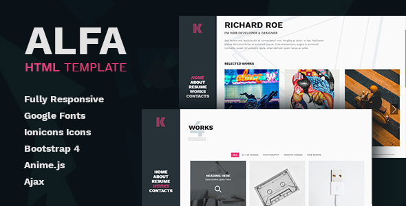 Alfa - Personal Portfolio and Virtual Business Card - Personal Site Templates