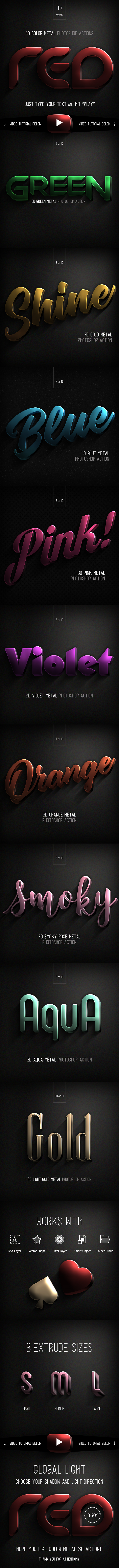 3D Color Metal - PS Actions