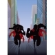 Superhero Couple Running in City Silhouette - GraphicRiver Item for Sale