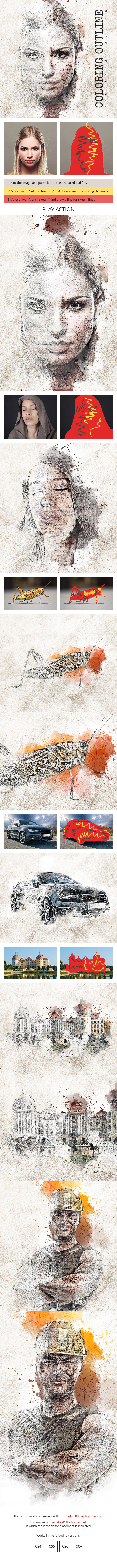 Coloring Outline Photoshop Action - Photo Effects Actions
