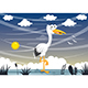 Free Download Vector Illustration of Cartoon Stork Nulled