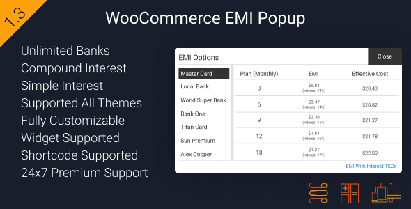Download WooCommerce EMI Popup nulled