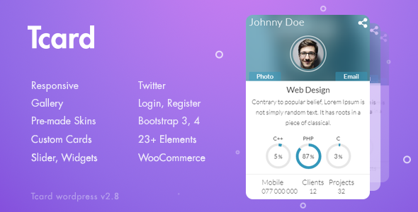 Tcard WP - Simple Plugin for Creating Cards, Filterable Portfolio - CodeCanyon Item for Sale