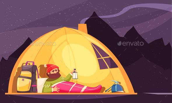 Mountaineering Alpinist Tent Cartoon