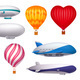 Dirigible and Balloons Realistic Set - GraphicRiver Item for Sale