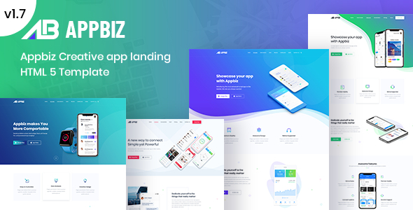 Appbiz– Apps Landing HTML Template. - Technology Site Templates