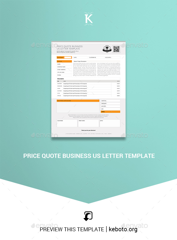 Price Quote Business US Letter Template - Miscellaneous Print Templates