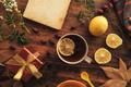 Flat lay rose hip herbal tea in a cup - PhotoDune Item for Sale
