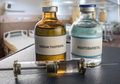 Two vials of Sodium Thiopental Anesthesia and pentobarbital in a hospital, conceptual image - PhotoDune Item for Sale