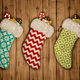Christmas stocking on old wooden background 3D rendering - PhotoDune Item for Sale