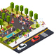 Street Artists Park Isometric Composition - GraphicRiver Item for Sale