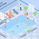 Public Swimming Pool Isometric Composition - GraphicRiver Item for Sale