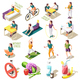 Healthy Life Style Isometric Icons - GraphicRiver Item for Sale
