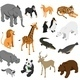 Zoo Animals Isometric Set - GraphicRiver Item for Sale