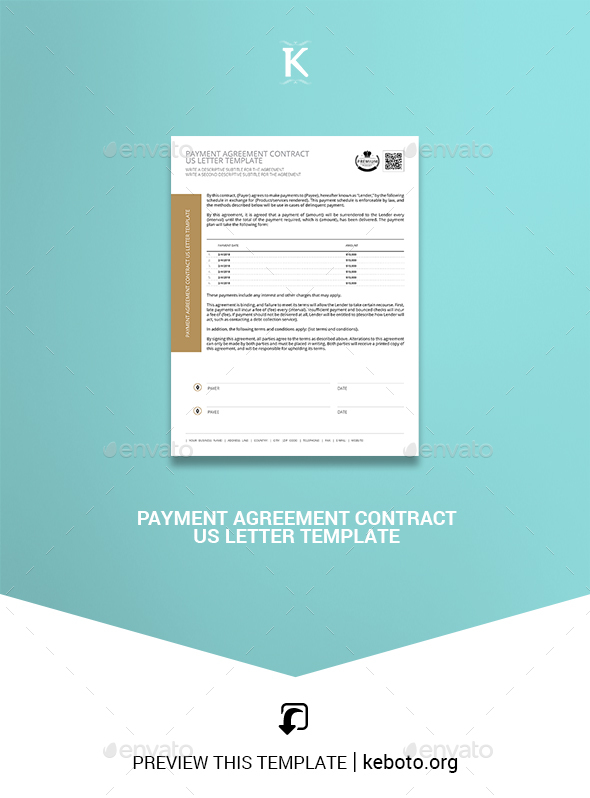 Payment Agreement Contract US Letter Template - Miscellaneous Print Templates
