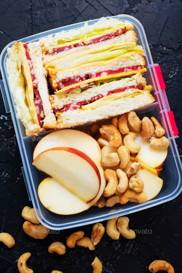 food in lunch box - Stock Photo - Images