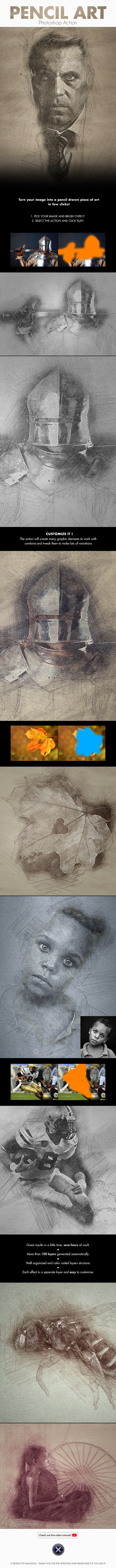 Pencil Art - Photoshop Action - Photo Effects Actions