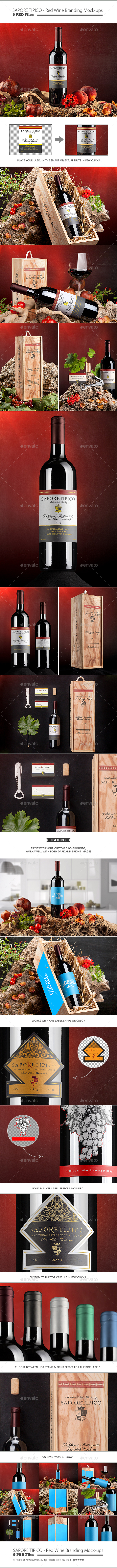 Sapore Tipico - Red Wine Branding Mock-ups - Food and Drink Packaging