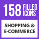 159 Shopping & E-Commerce Filled Blue & Black Icons - GraphicRiver Item for Sale