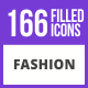 166 Fashion Filled Blue & Black Icons - GraphicRiver Item for Sale