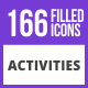 166 Activities Filled Blue & Black Icons - GraphicRiver Item for Sale