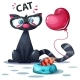 Cat with Fish and Air Balloon - GraphicRiver Item for Sale