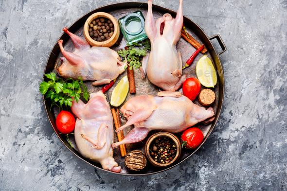 Fresh raw meat quails - Stock Photo - Images