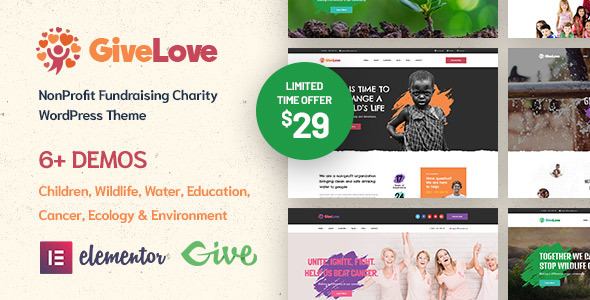 Givelove | Non-profit Charity & Crowdfunding WordPress Theme