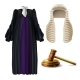 Judge Formal Dress and Gavel Realistic Vector - GraphicRiver Item for Sale