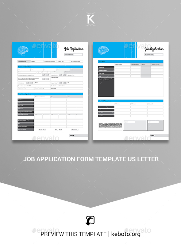 Job Application Form Template US Letter - Miscellaneous Print Templates
