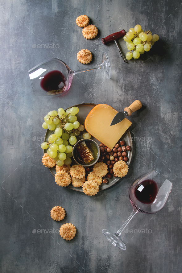 Cheese and grapes appetizer - Stock Photo - Images