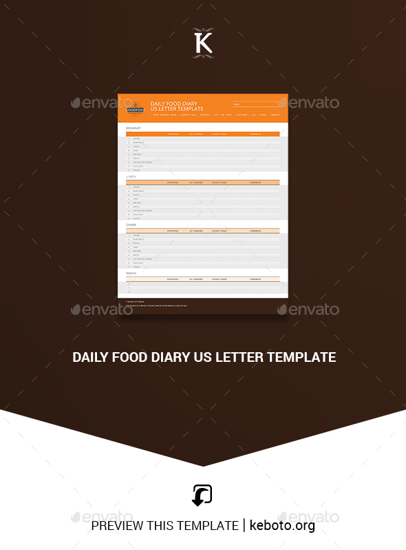 daily food diary us letter template by keboto graphicriver