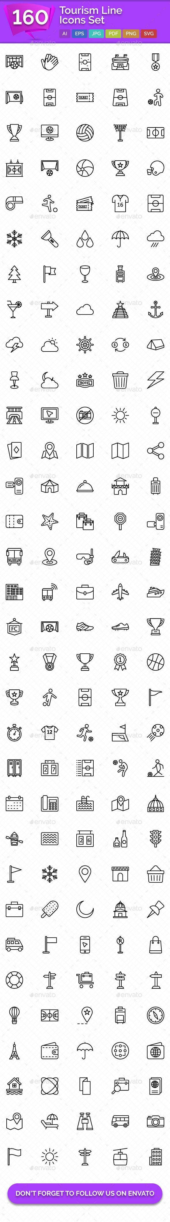 160 Tourism Line Icons Set