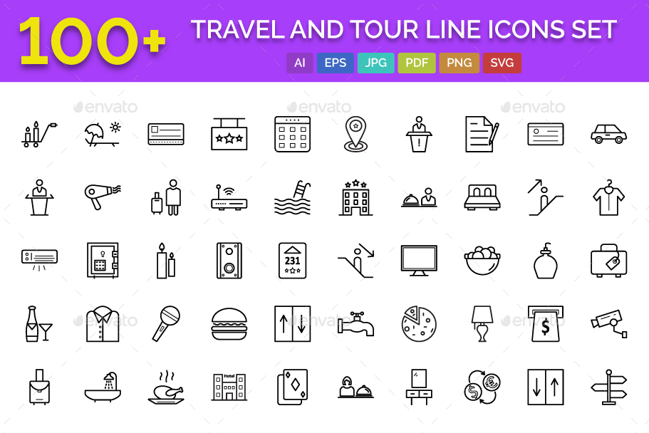 100+ Travel and Tour Line Icons Set
