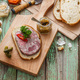 Headcheese sandwich on a cutting board, copy space - PhotoDune Item for Sale