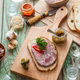 Sandwich with headcheese on a cutting board, top view - PhotoDune Item for Sale