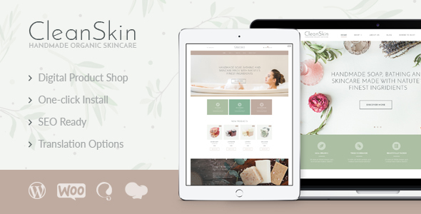CleanSkin | Handmade Organic Soap & Natural Cosmetics Shop WordPress Theme - WooCommerce eCommerce