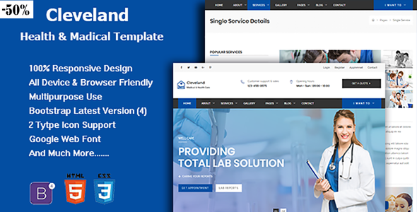 Cleveland - Responsive Hospital, Health And Medical Template