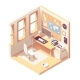Vector Isometric Home Office Room - GraphicRiver Item for Sale