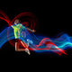 one caucasian young teenager girl woman playing Badminton player on black background - PhotoDune Item for Sale