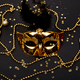 Black and gold carnival mask. Top view - PhotoDune Item for Sale