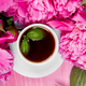 Bouquet Peony flowers and  cup of coffee - PhotoDune Item for Sale