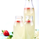 Kombucha tea with elderflower and strawberry on blue background. . - PhotoDune Item for Sale